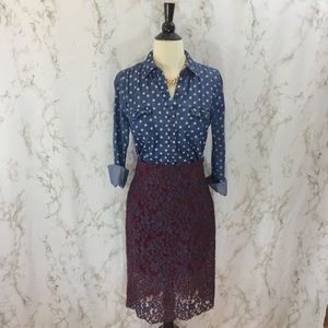 HP! Zara Woman purple and red lace pencil skirt